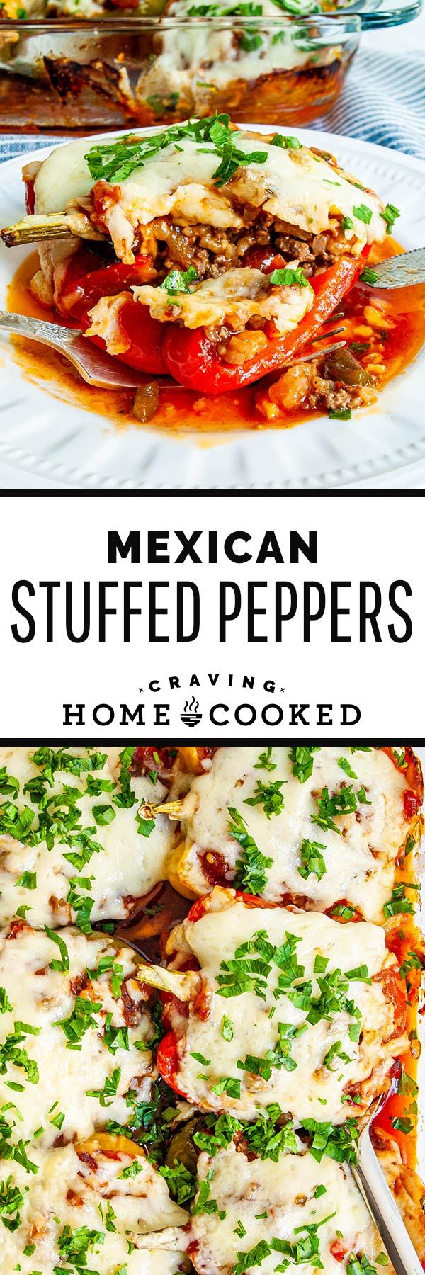 Incredibly cheesy, juicy and delicious Mexican Stuffed Peppers with a beef and rice mixture! So good and so easy to make. Total comfort food and a very satisfying meal! #mexican #stuffedpeppers #beefandrice
