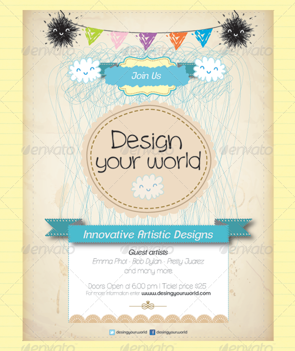 Artistic Poster  Postcard  Invitation  Template Postcard