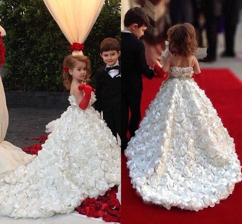 Cheap wedding flower girls dresses for beach full handmade