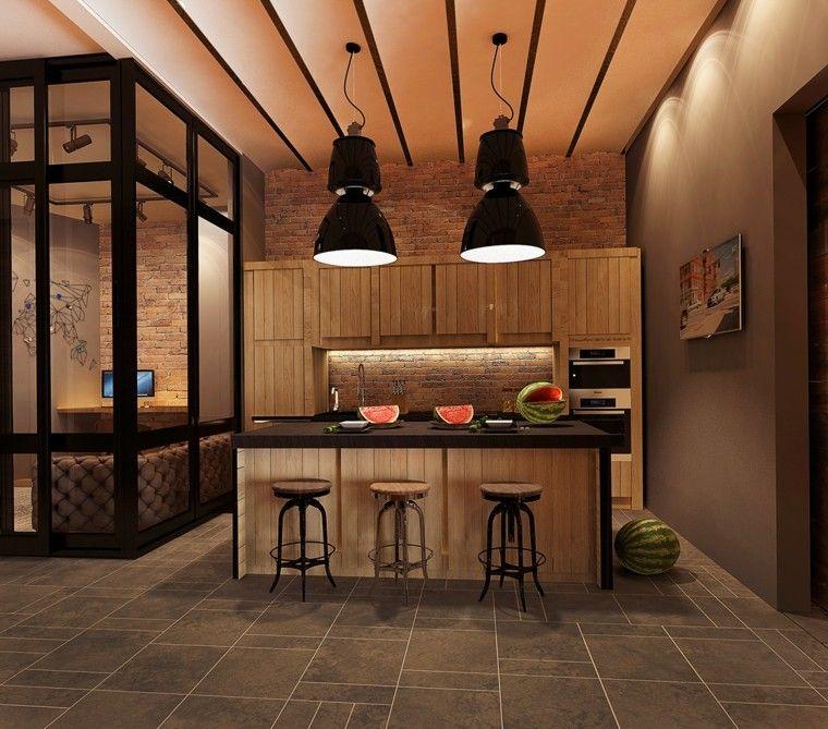 diseno estilo rustico cocina isla grande taburetes altos ideas ...