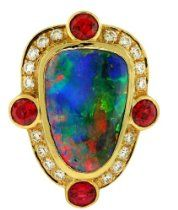 Crevoshay Opal, Spinel and Diamond Ring (Opal 6.84ct, Spinel 1.35ct, Diamond 0.53ct, 17.21 grams)