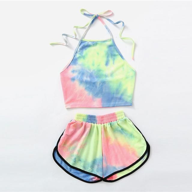 Halter Neck Water Color Crop Top With Ringer Shorts Unicorn Love