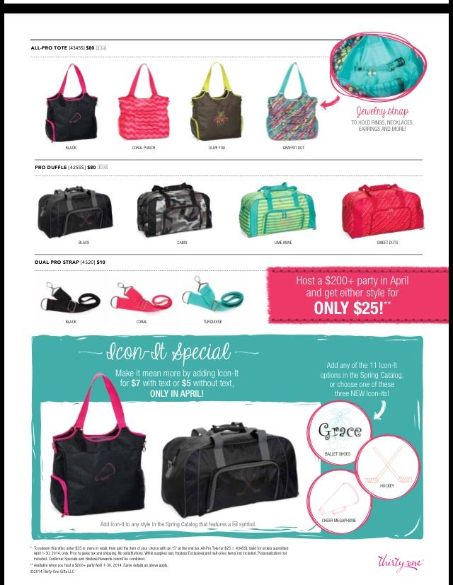 5df9d697420d Get an All Pro Tote or Pro Duffle from Thirty-One! Spend  35 in April and  get the Pro Duffle for  25. www.facebook.com groups theresa31gifts