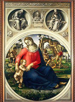 Signorelli - La Madonna col Bambino tra ignudi è un dipinto a tempera su tavola (31x70 cm) di Luca Signorelli, databile al 1490 circa. Realizzata per la villa medicea di Castello, l'opera è attualmente conservata nella Galleria degli Uffizi di Firenze.