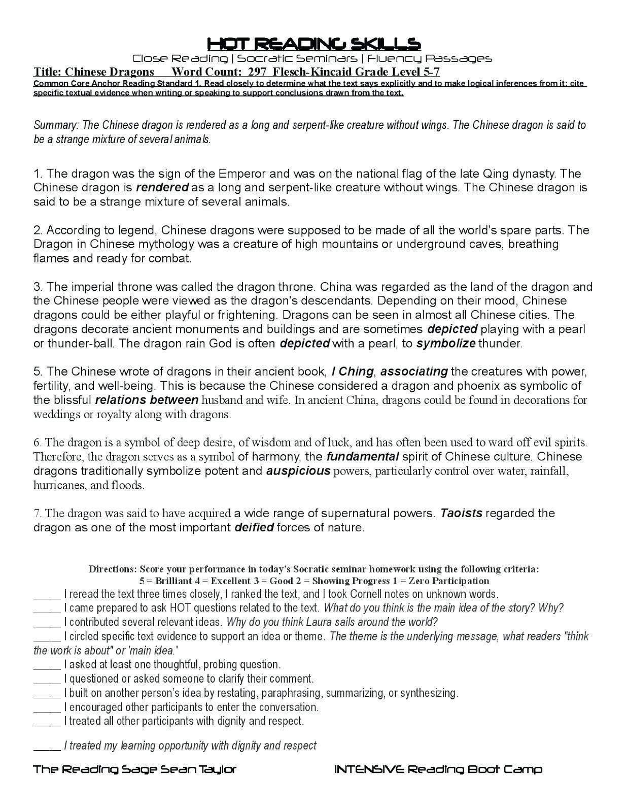 Summary And Main Idea Worksheet 1 Answer Key