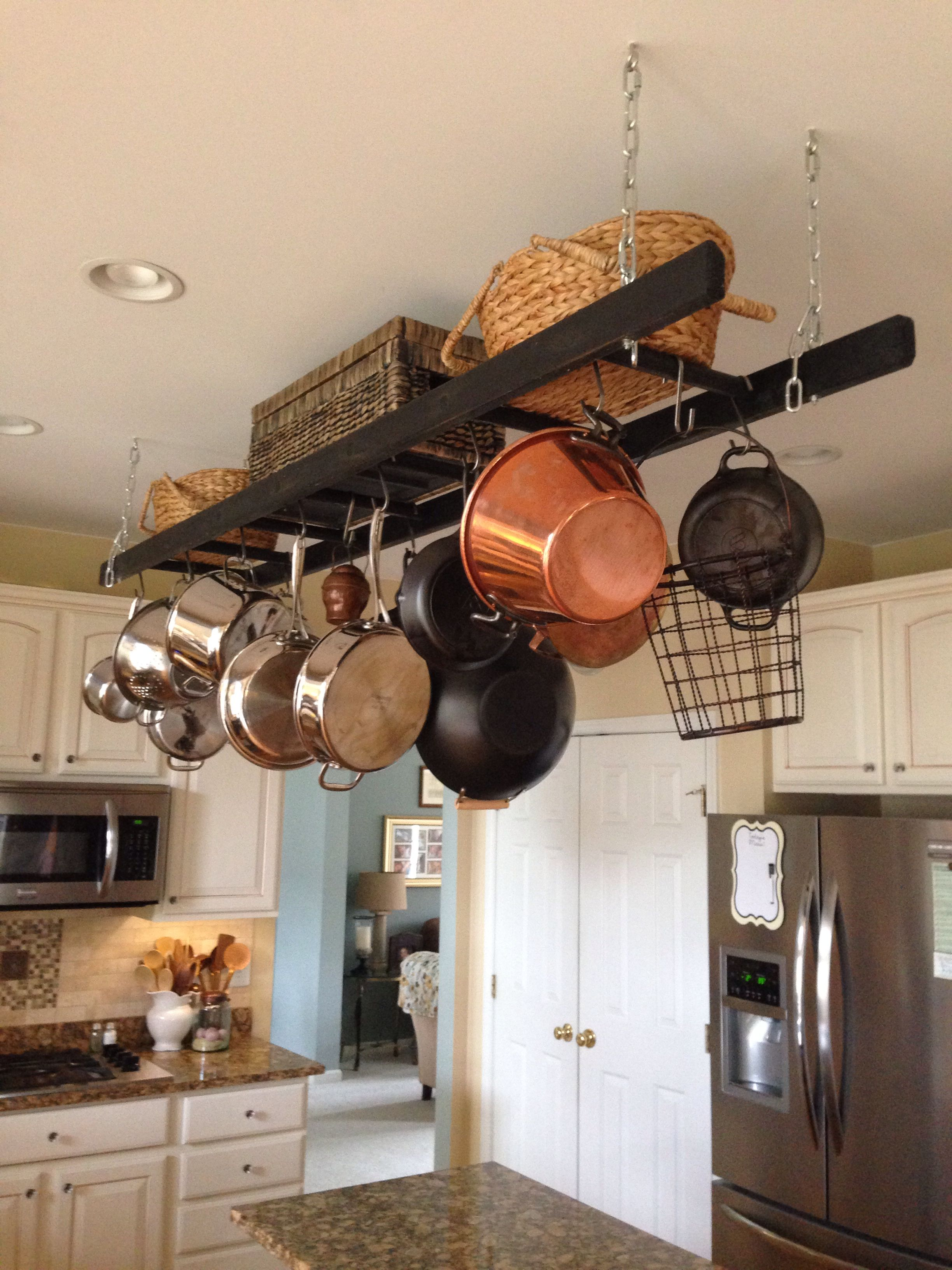 kitchen pot hangers countertop stools ladders not just something to stand on repurpose ladder rack more