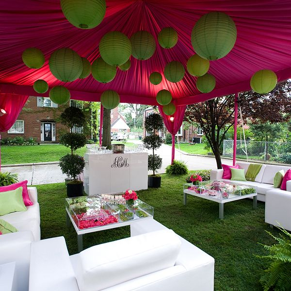 Tented cocktail lounge area wed event lounge areas for Outdoor party tent decorating ideas