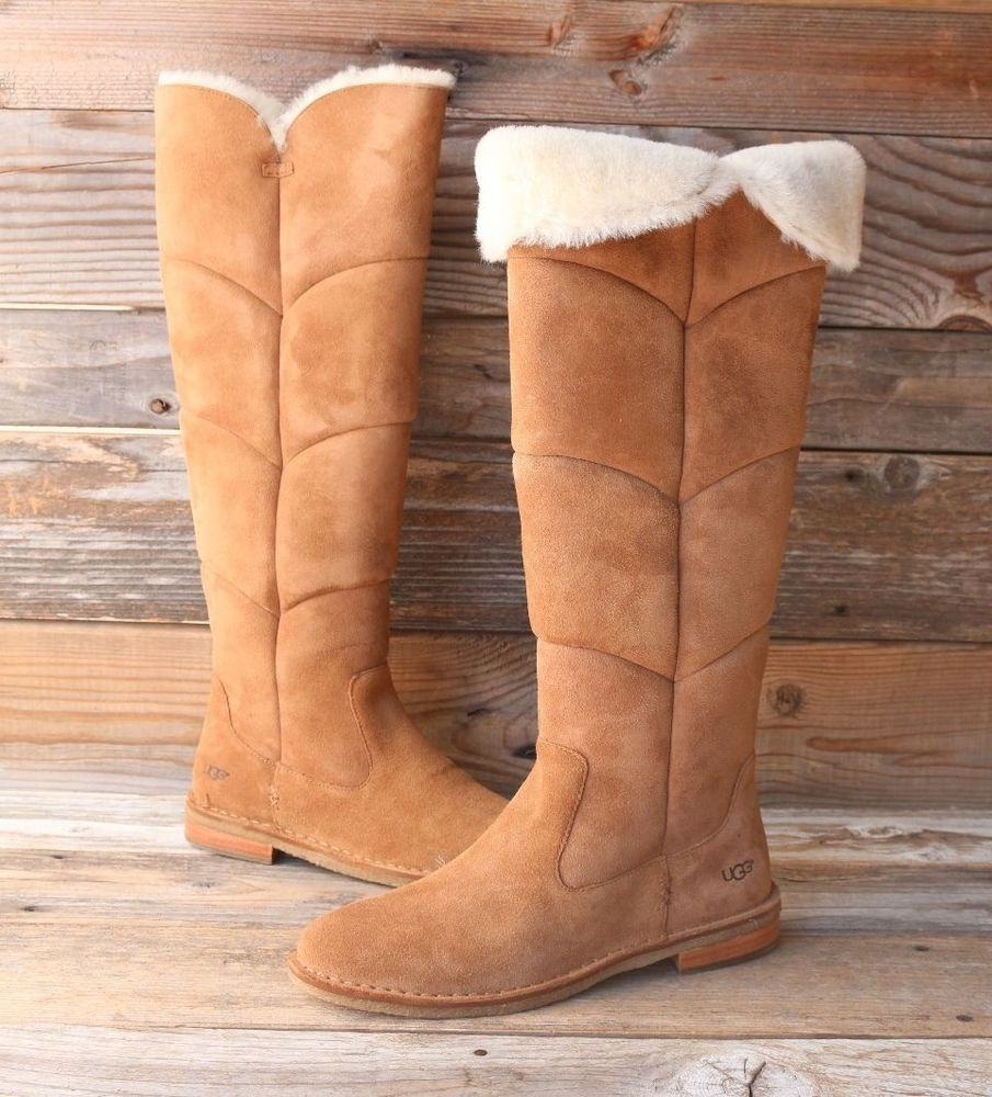 UGG Australia Samantha Chestnut Over The Knee Sheepskin Boots US 10 UK 8.5 EU 41 #