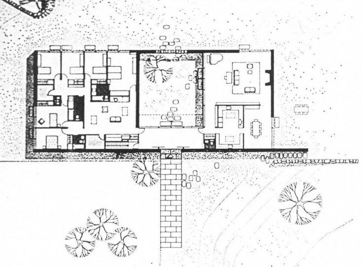 Modern Courtyard House Design Plan: Marcel Breuer Hooper House ...
