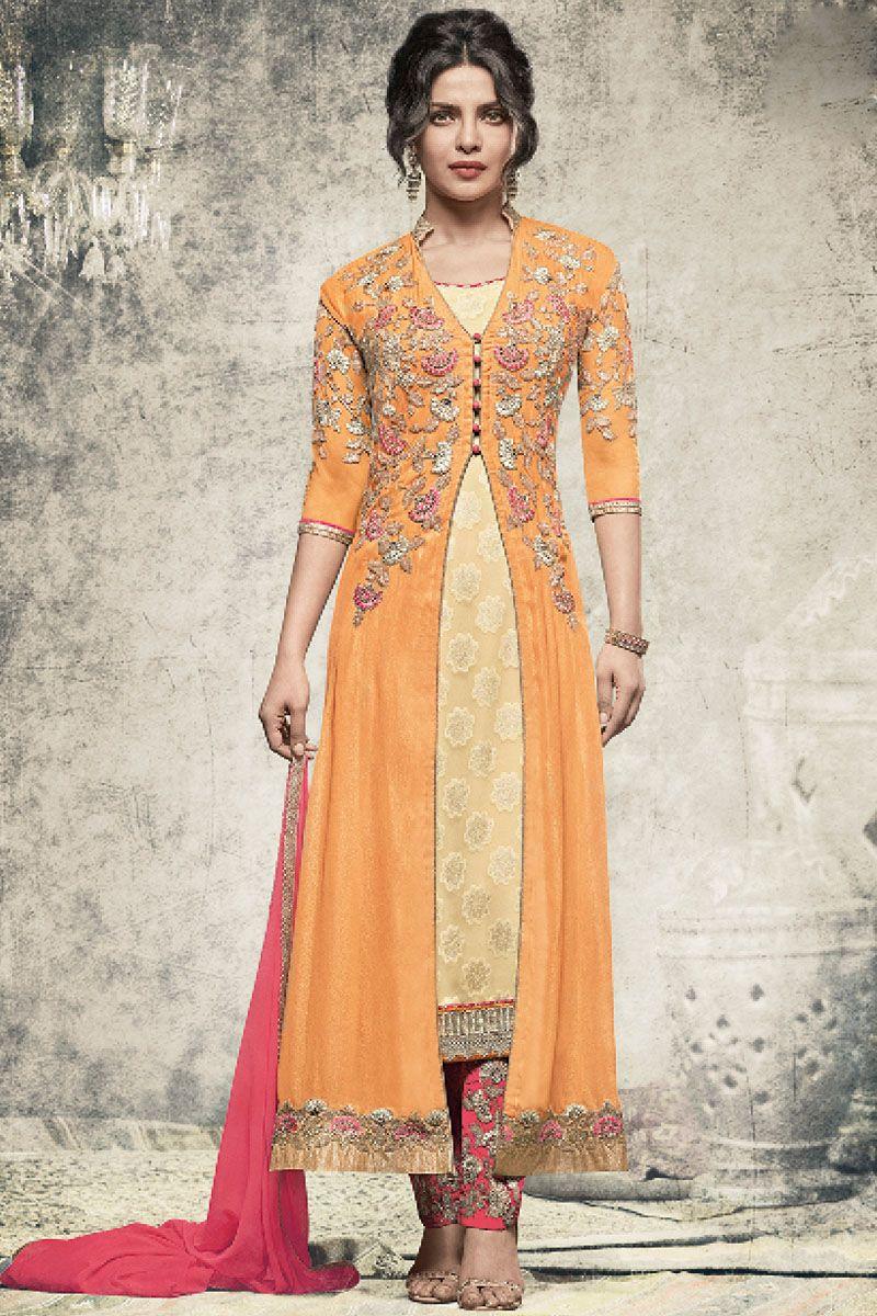1c288fae64 Yellow Designer Georgette Embroidered Jacket Style Priyanka Salwar Kameez