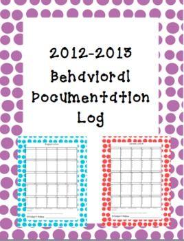 Behavioral Log Documentation Calendar