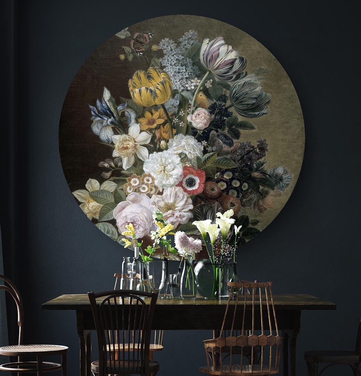 Rond Schilderij Stilleven Met Bloemen Eelkema Dining Room Flowers Hip Orgnl Wanddecoraties Woonkamer Decoratie Bloemen Behang