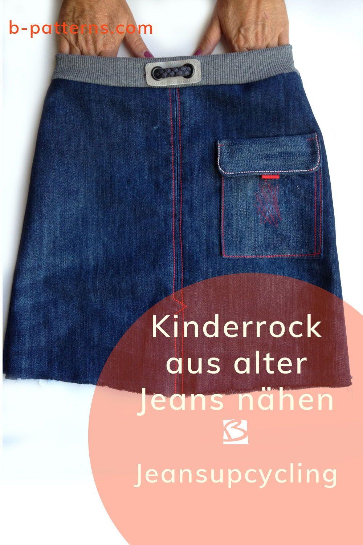Aus alten Jeans einen coolen Kinderrock nähen. Schritt für Schritt Nähanleitung mit Schnittmuster. Viele Nähbeispiele #bpatterns #jeansrecycling #vieuxjeans