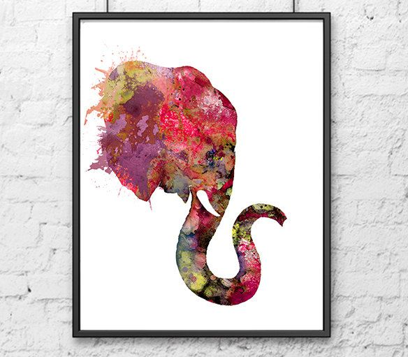 Elephant art print watercolor paintig animal art home decor kids room decor elephant painting (15.00 USD) by Thenobleowl