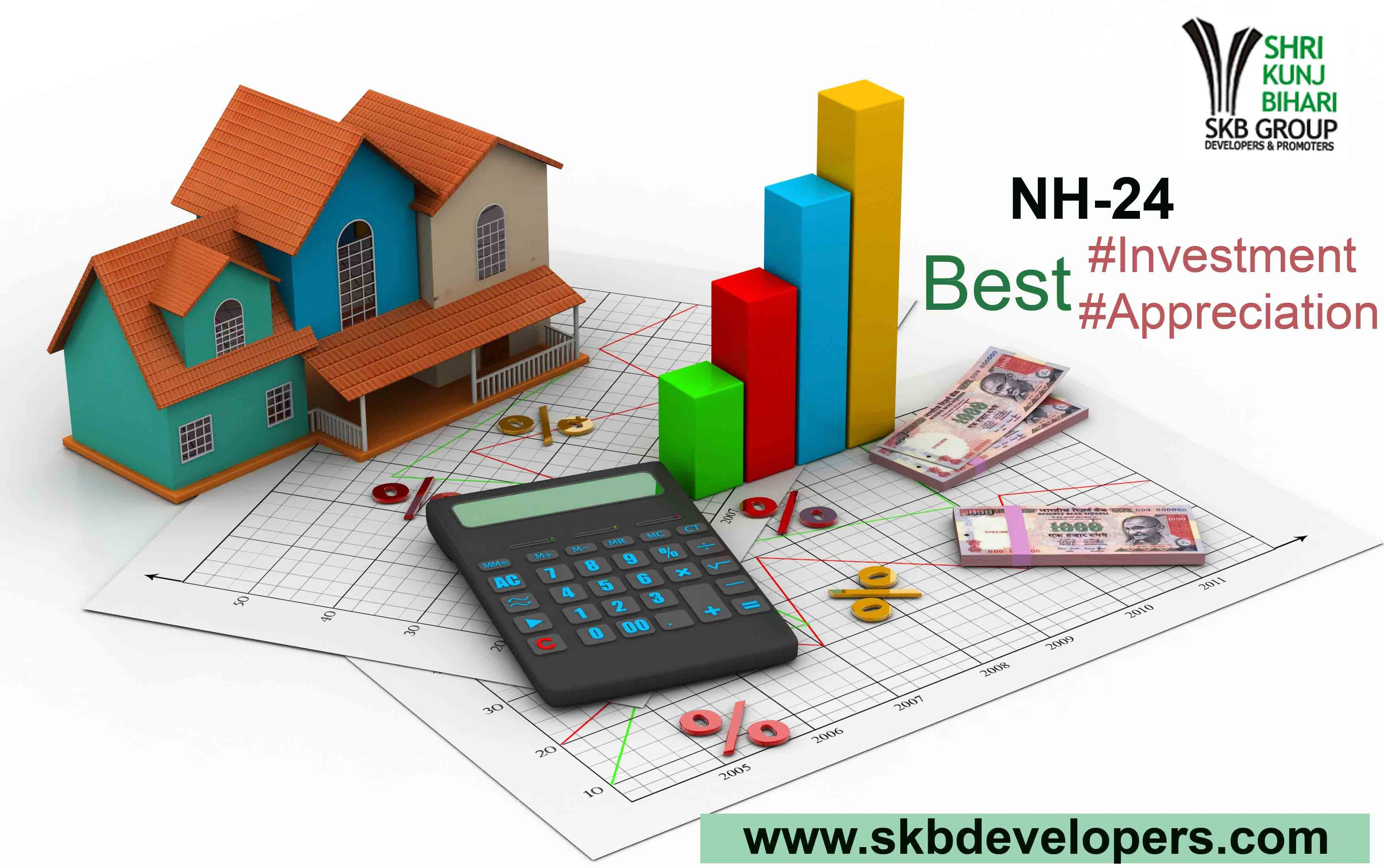 Best place for property investment in NH-24 Real estate INVESTMENT  involves the commitment of funds to property with an aim to generate income through rental or lease and to achieve capital appreciation. Real estate refers to immovable property, such as land, and everything else that is permanently attached to it, such as buildings. When a person acquires real estate, s/he also acquires a set of rights, including possession, control and transfer rights. Visit - http://www.skbdevelopers.com/