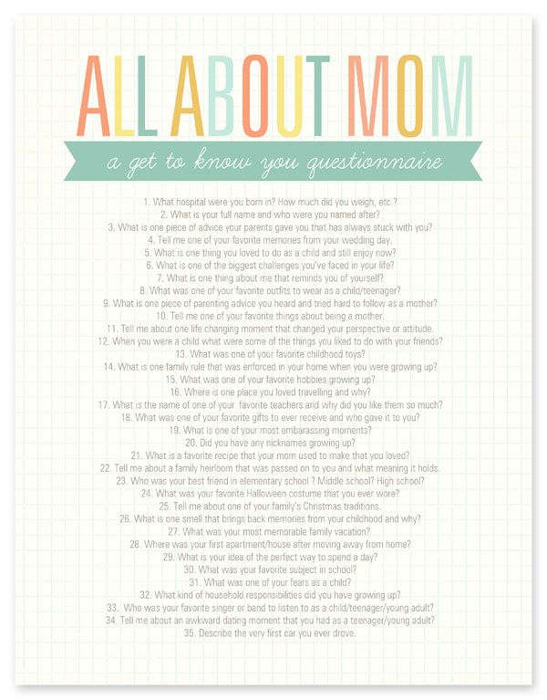 All About Mom Questionnaire   DIY Life Info   All about mom