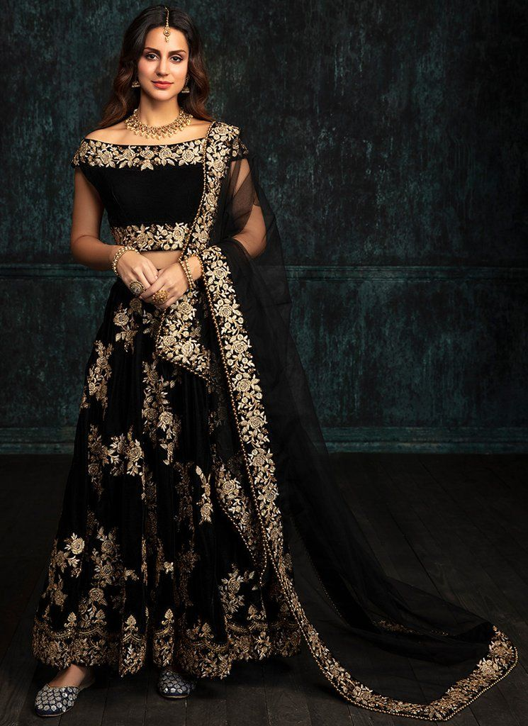 4c2959c3e1 Black Embroidered Velvet Lehenga features a velvet blouse, velvet lehenga  with santoon inner and embroidered net dupatta. Embroidery work is  completed with ...