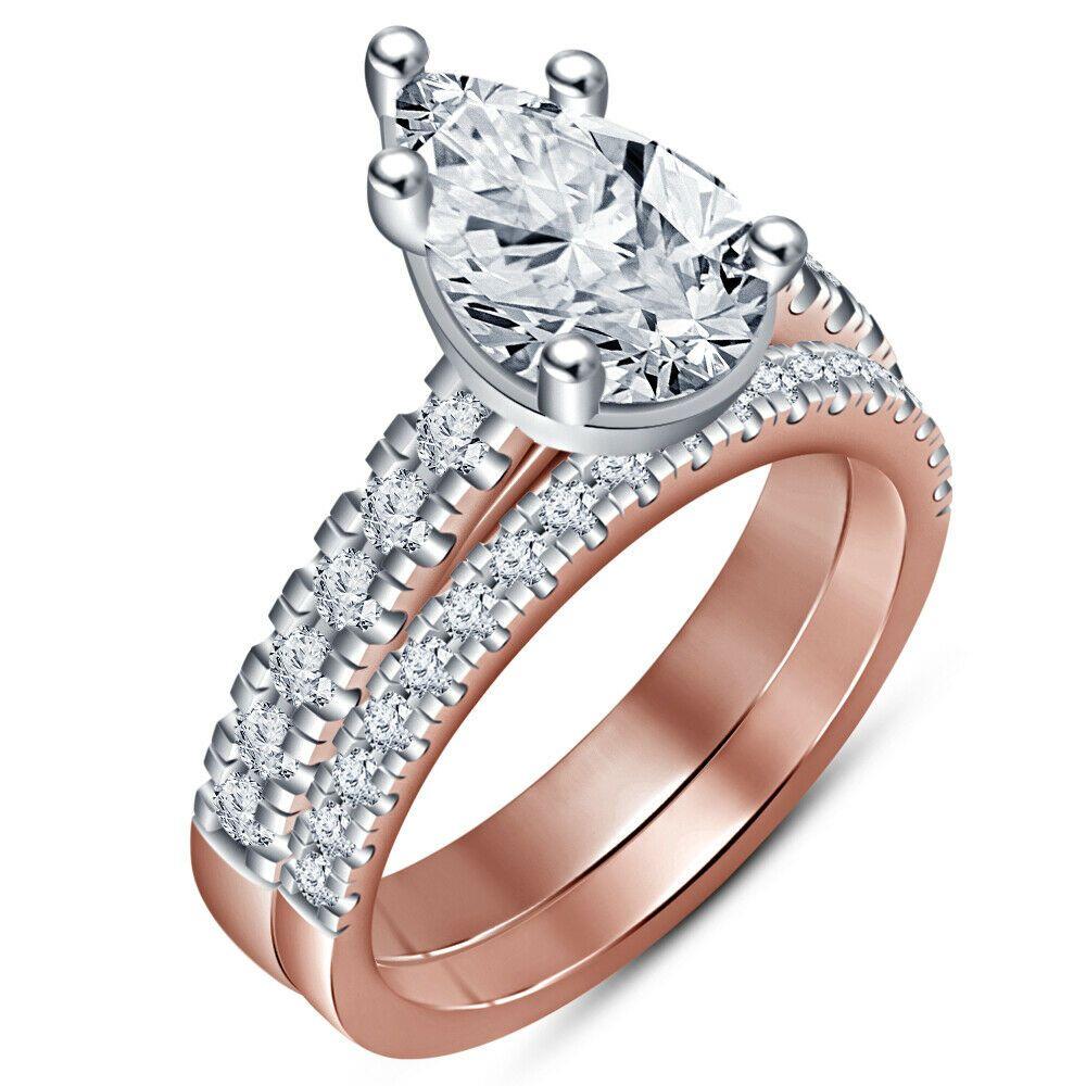 2Ct Pear D/VVS1 Diamond 14K Rose Gold Over Engagement