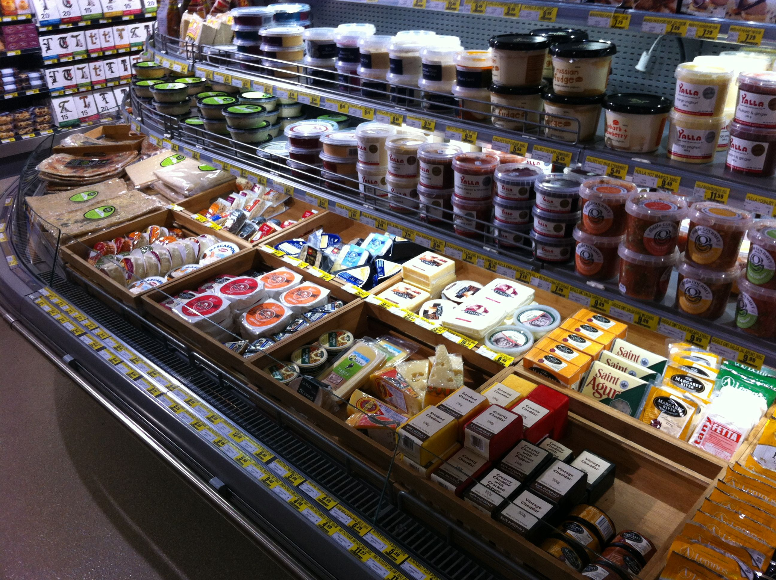 Add an organic look by using timber crates in your deli