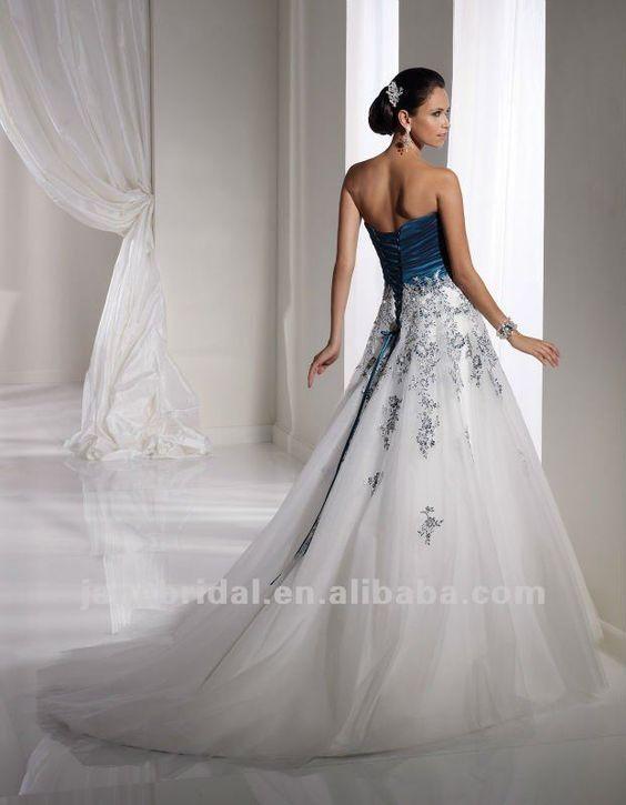 white and teal corset back wedding dresses | Bond | Pinterest ...