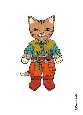 Karen`s Paper Dolls: Cat Brother Dressed to Print in Colours. Kattebror klædt på til at printe i farver.