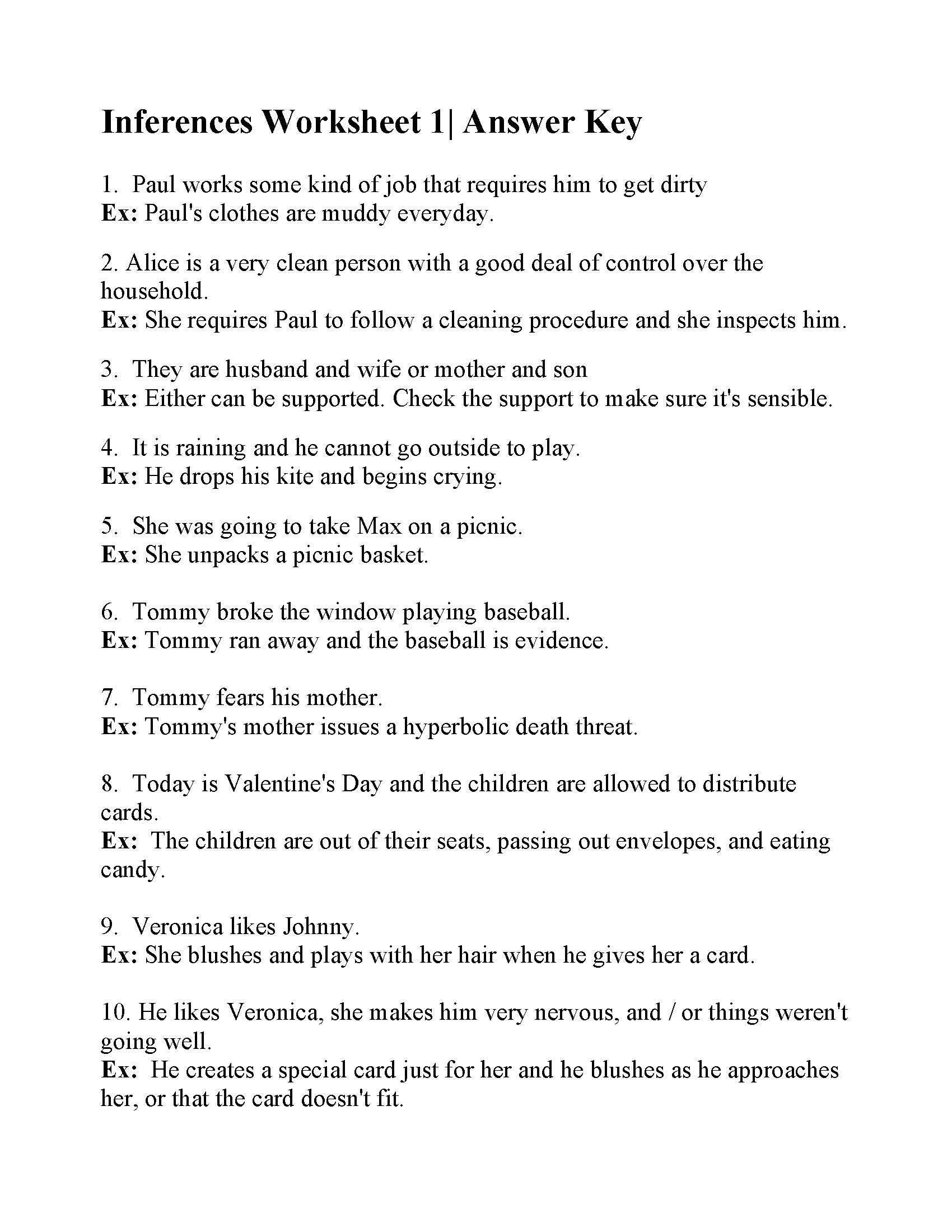 medium resolution of This is the answer key for the Inferences Worksheet 1.   Science worksheets