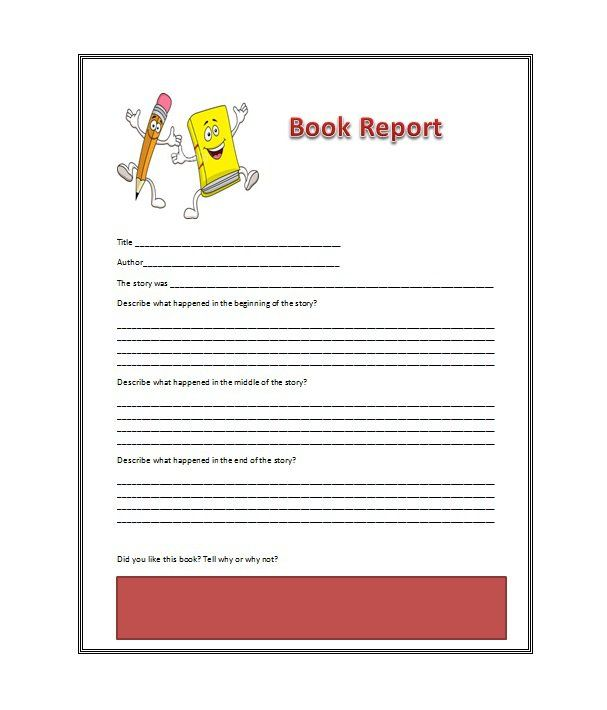 Book Report Template   Templates Free    Book Report