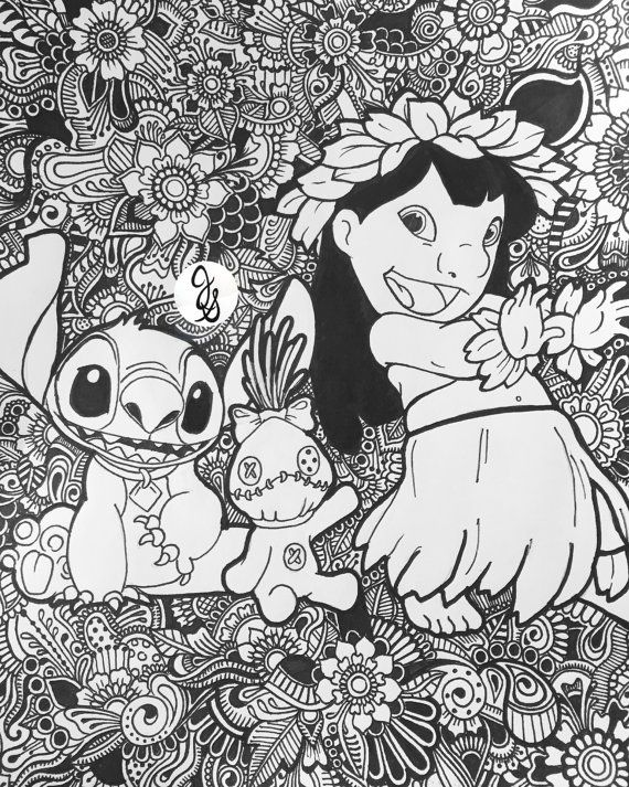 Lilo And Stitch Floral Design Coloring Pages Stitch