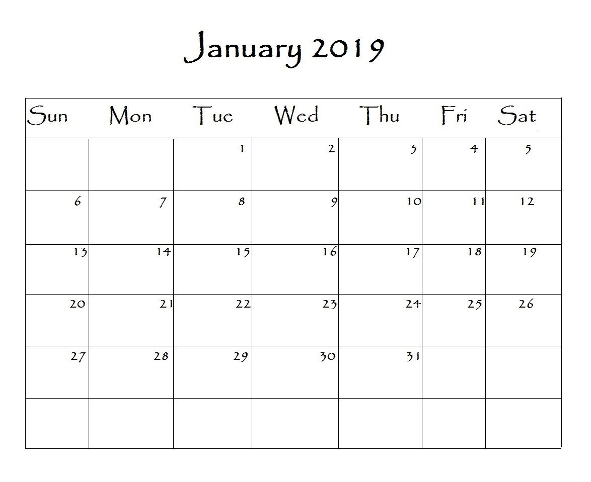 2019 Calendar For Word January 2019 Calendar Word | Monthly Calendar Templates | Free