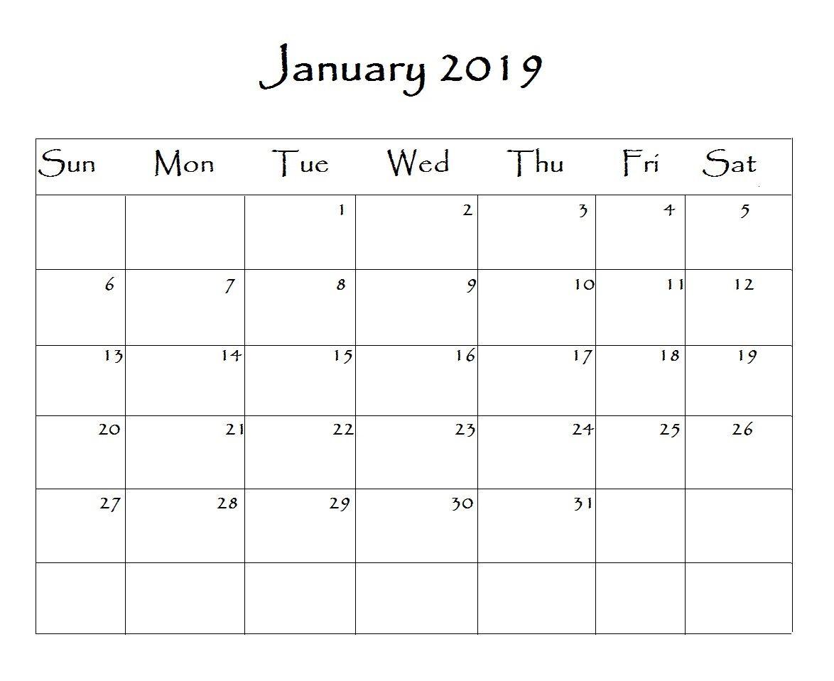 January Calendar Word