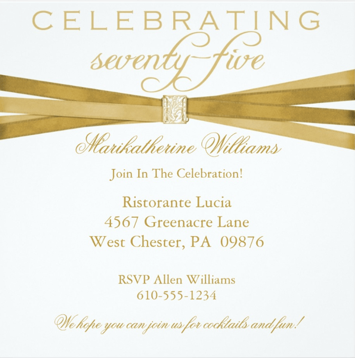 75th birthday invitations 50 gorgeous 75th party invites 75th elegant personalized 75th birthday invitations filmwisefo Gallery
