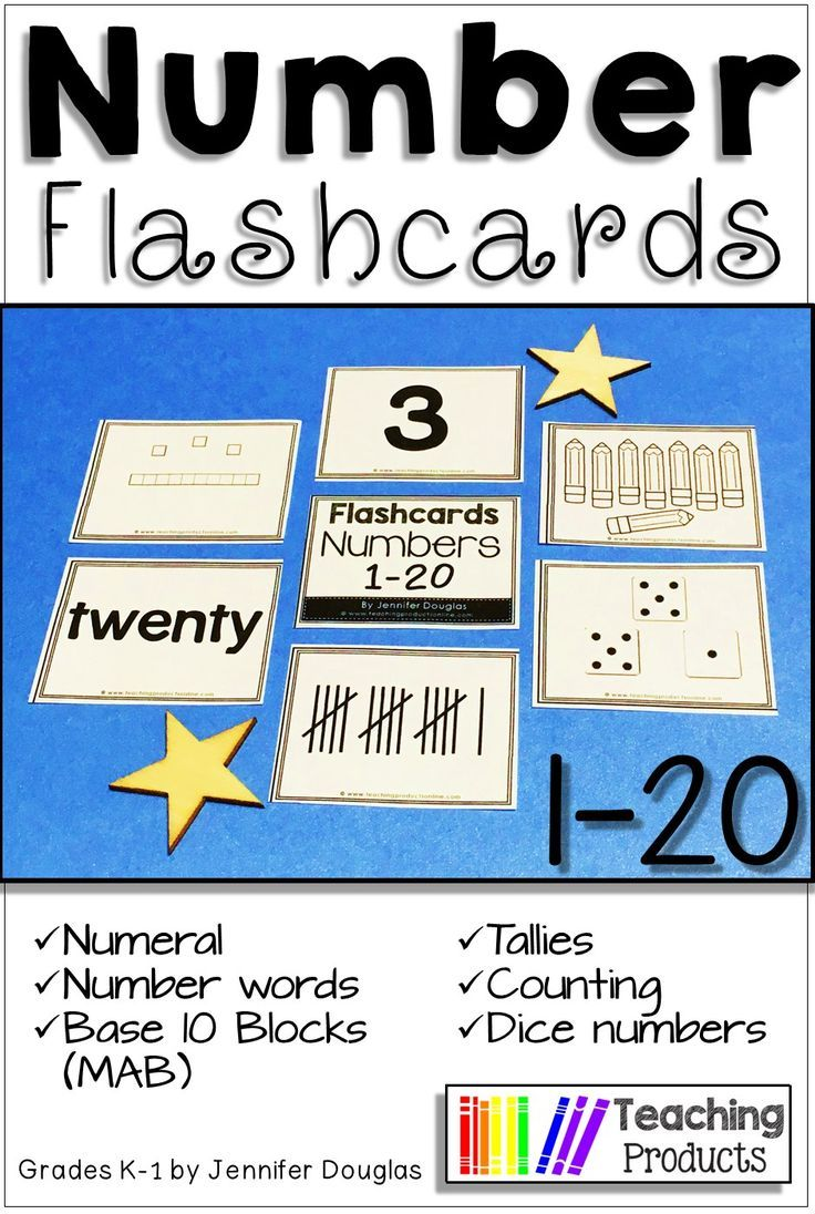 Number flashcards 1-20 Numeral, number, tally, tens frame, base ten ...