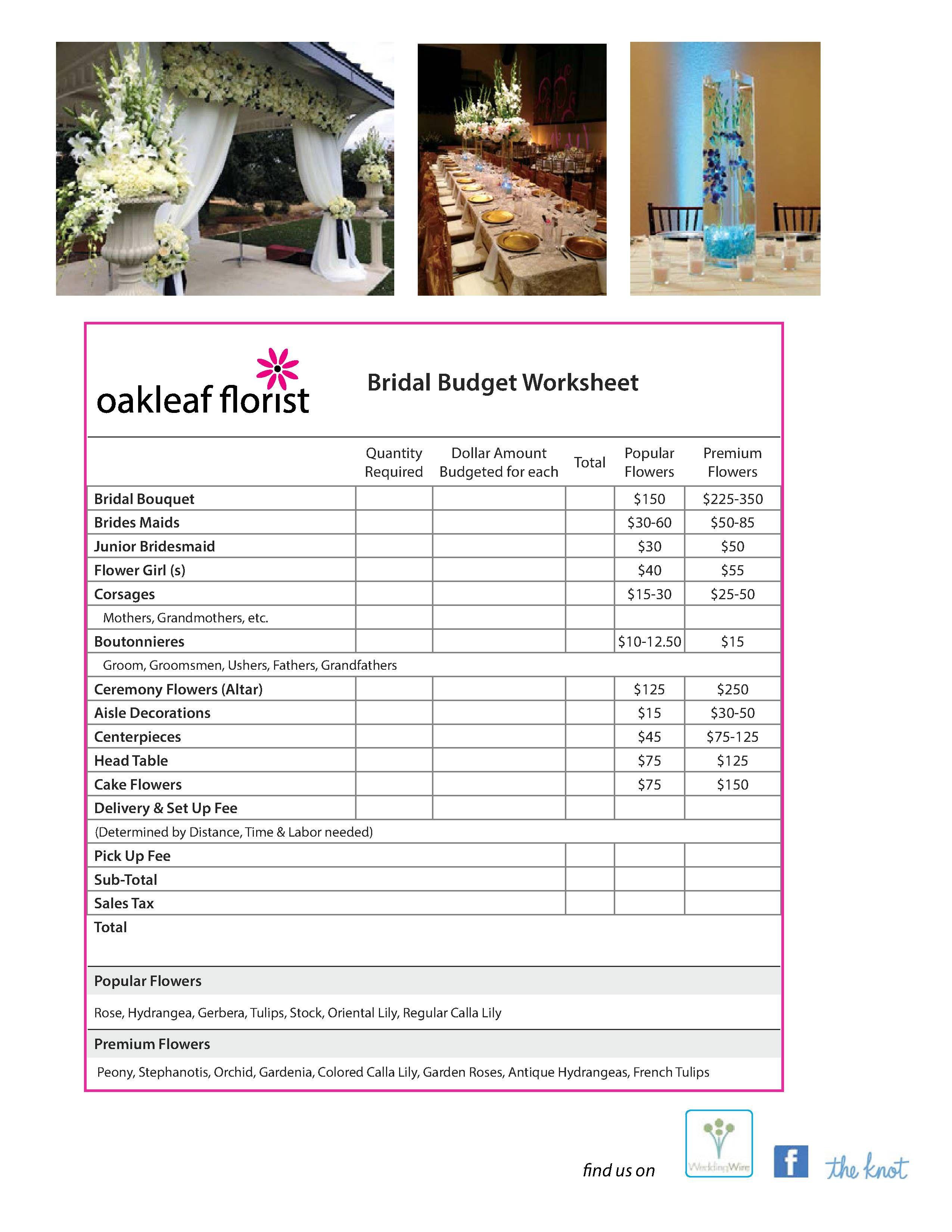 Bridal budget worksheet. Wedding tips and ideas. Average