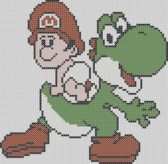 super mario brothers inspired yoshi with baby von stitchedpixels super mario und freunde. Black Bedroom Furniture Sets. Home Design Ideas