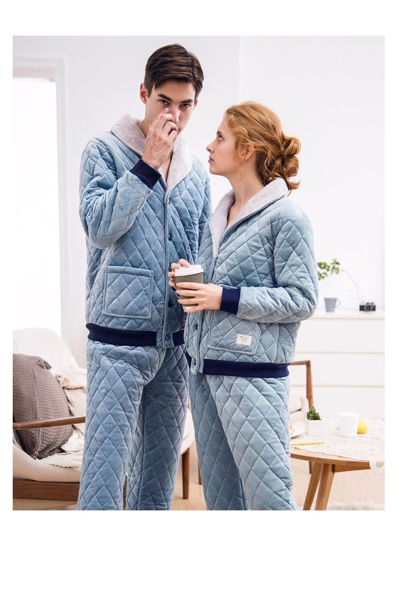 new couple night suits men and women thicken pajamas sets plush sleepwear  home wear warm pajamas a59f55e95