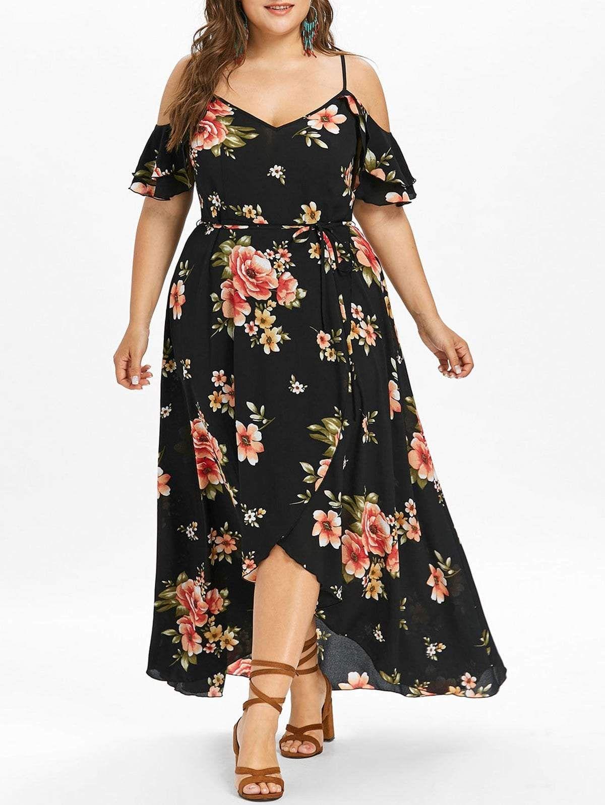 027e287e74250 Plus Size Cold Shoulder Floral Maxi Flowing Dress in 2019 | modest ...