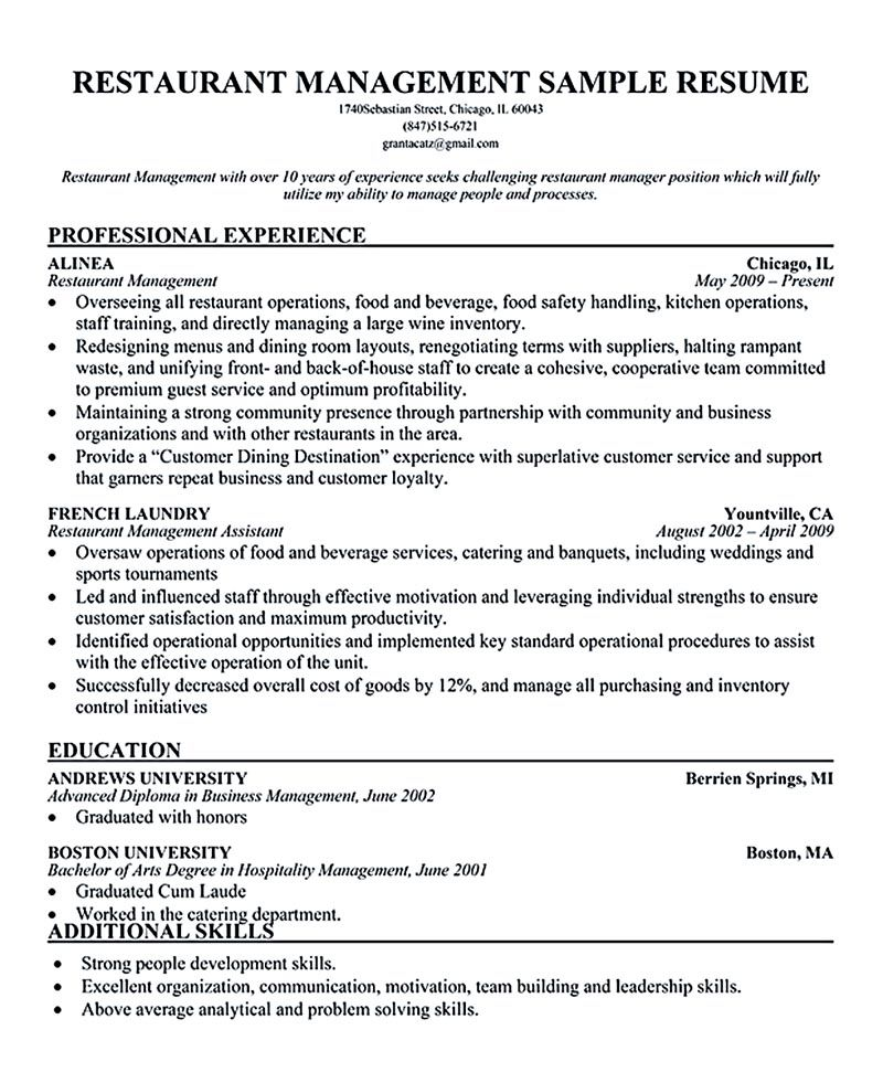resume restaurant manager Restaurant manager resume will ease - restaurant management resume