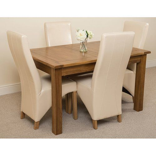Rosalind Wheeler Florencia Solid Oak Dining Set With 4 Lola Chairs