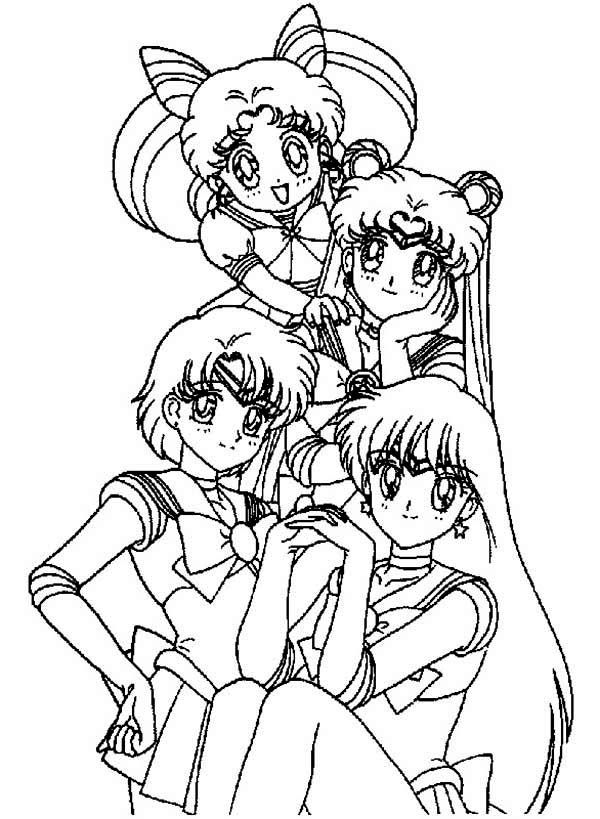 Chibi Sailor Moon and the Sailor Moon Guardian Coloring Page | Color ...