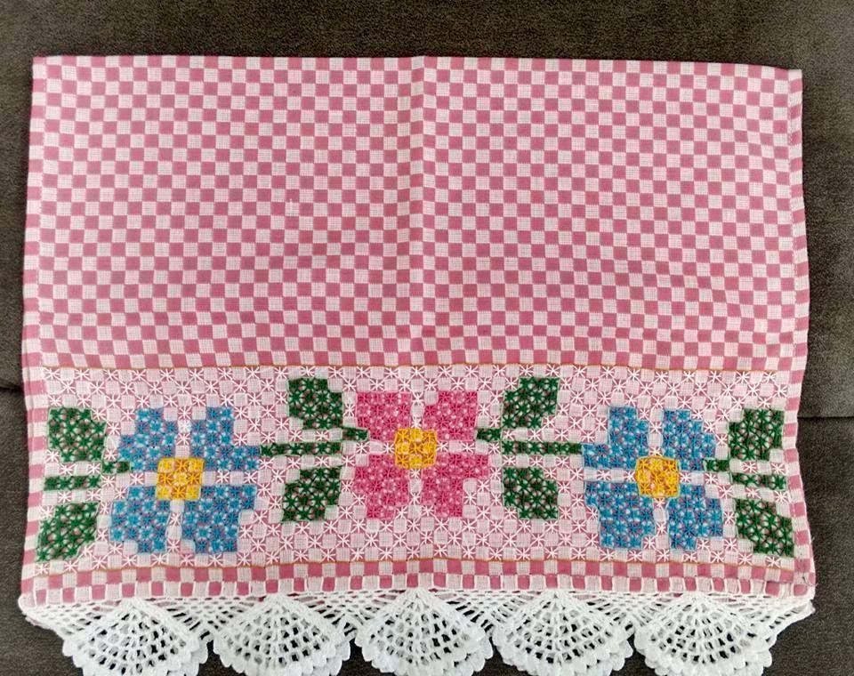 Bordado em tecido xadrez - Pano de Copa/Amostra (Detalhes sobre o ...
