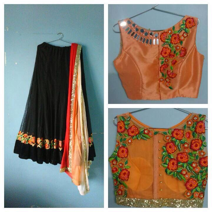 Black and orange combination | B..... | Pinterest | Saree, Blouse ...