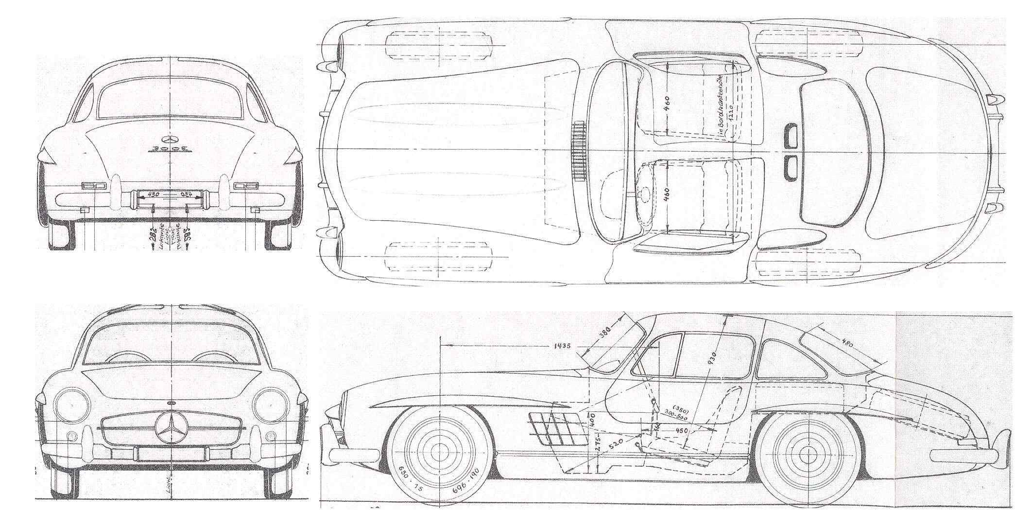 Mercedes Benz 300sl Blueprint