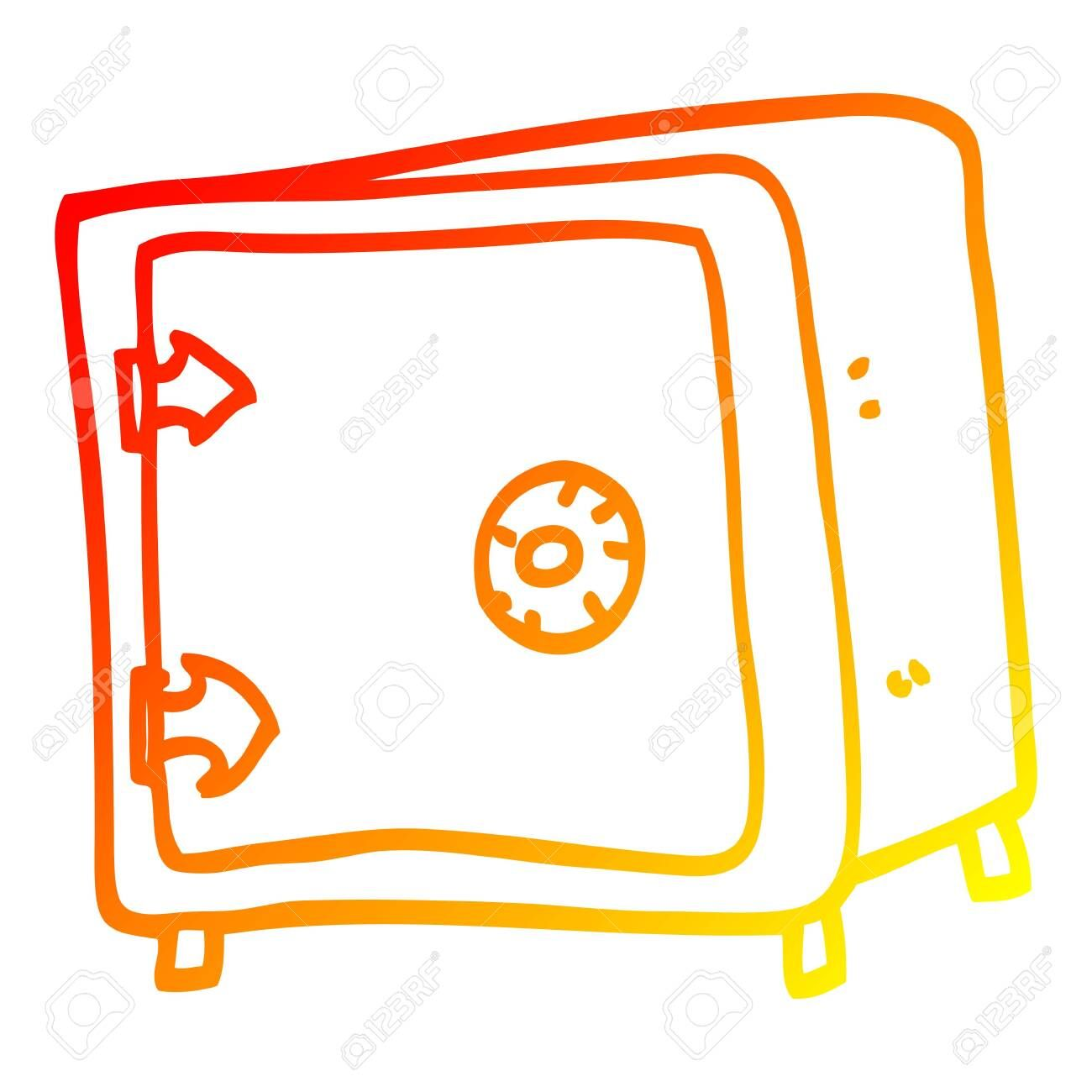 warm gradient line drawing of a cartoon old safe ,