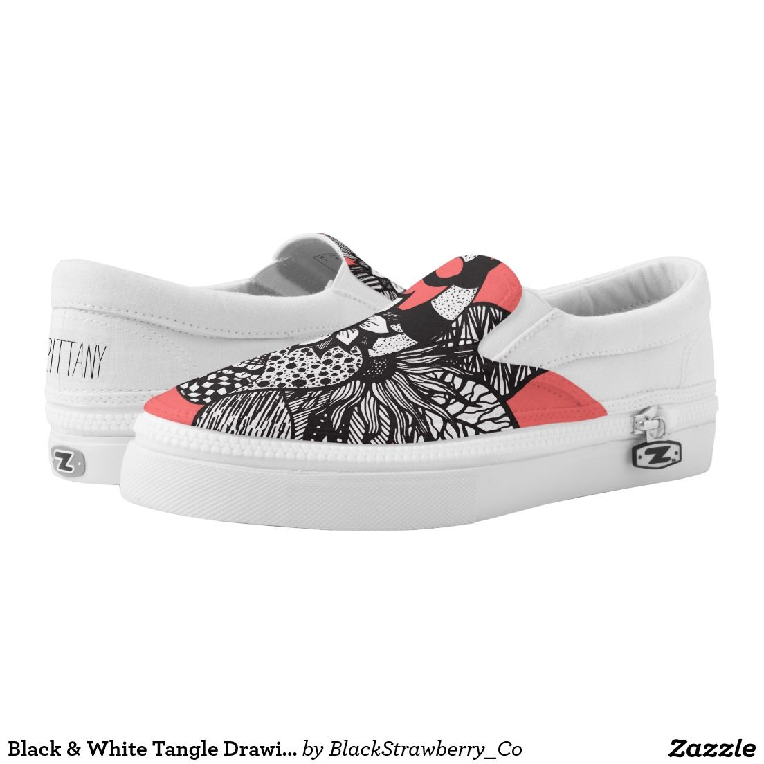 6dd8f61f8c03c Black   White Tangle Drawing Flowers And Swirls Printed Shoes Cool