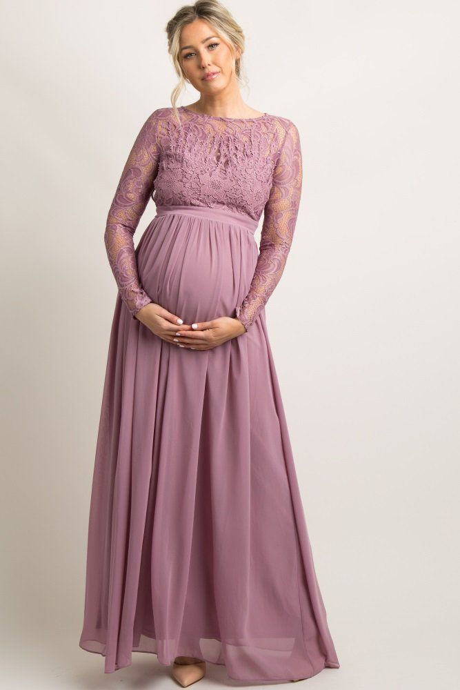 This Maternity Evening Gown Featuring Semi Sheer Lace Trim On Top And Lon Vestidos Para Embarazadas Vestidos De Noche Para Embarazadas Vestidos De Maternidad