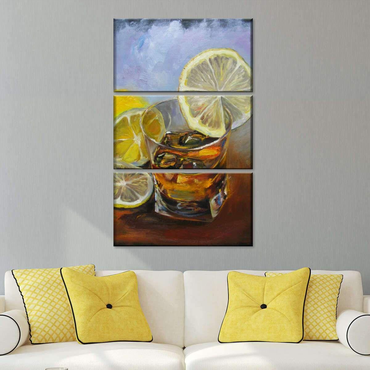 Whiskey With Lemon Wedge Multi Panel Canvas Wall Art In 2020 Multi Panel Canvas Canvas Wall Art Art