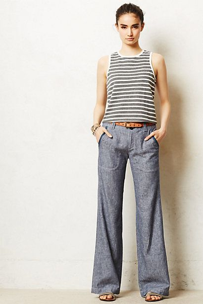 I need these in my life. Like, Yesterday.  Pilcro Linen Wide-Legs #anthropologie