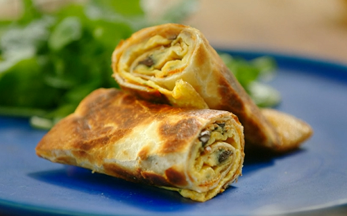 Photo of Nadiya Hussain crispy egg rolls with mushrooms and fried tortilla wraps recipe on Nadiya's Time to Eat