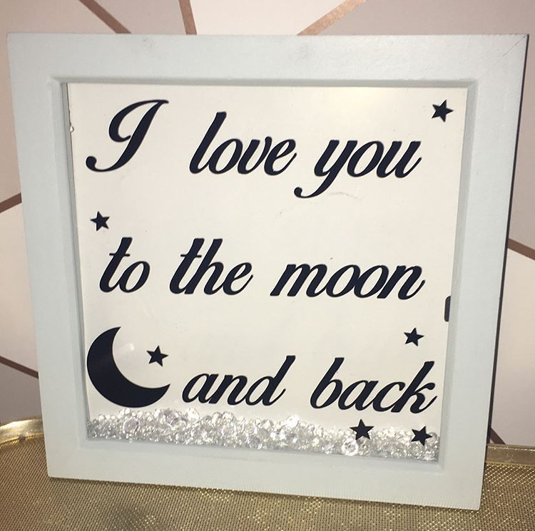 I love you to the moon and back box frame quote sticker vinyl ...