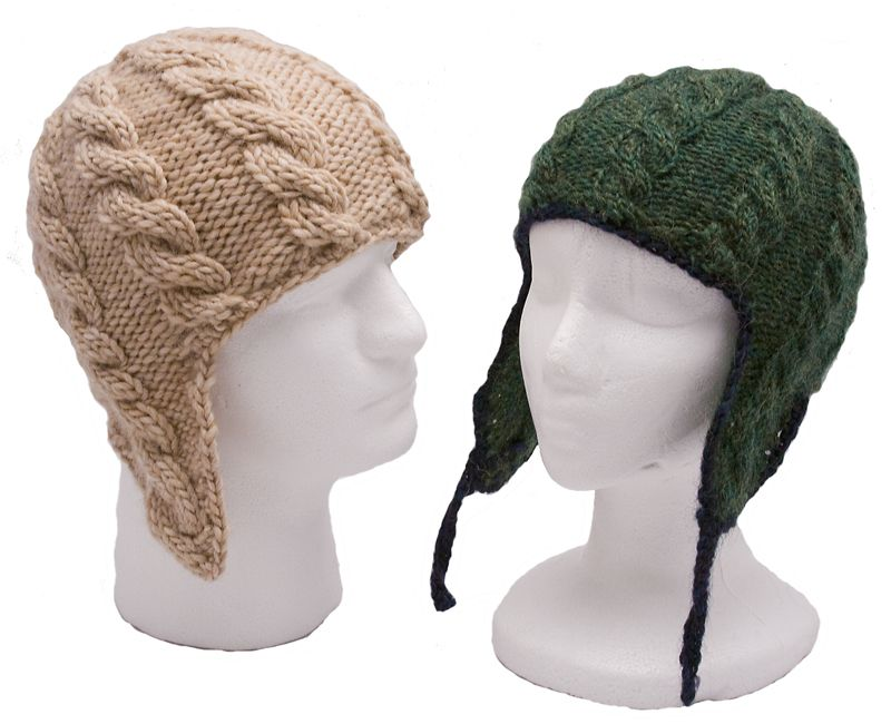 Adult Cable Ear Flap Hats Knitting Pattern | Flap hat ...
